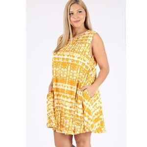 *coming soon* mustard yellow tie dye swing dress